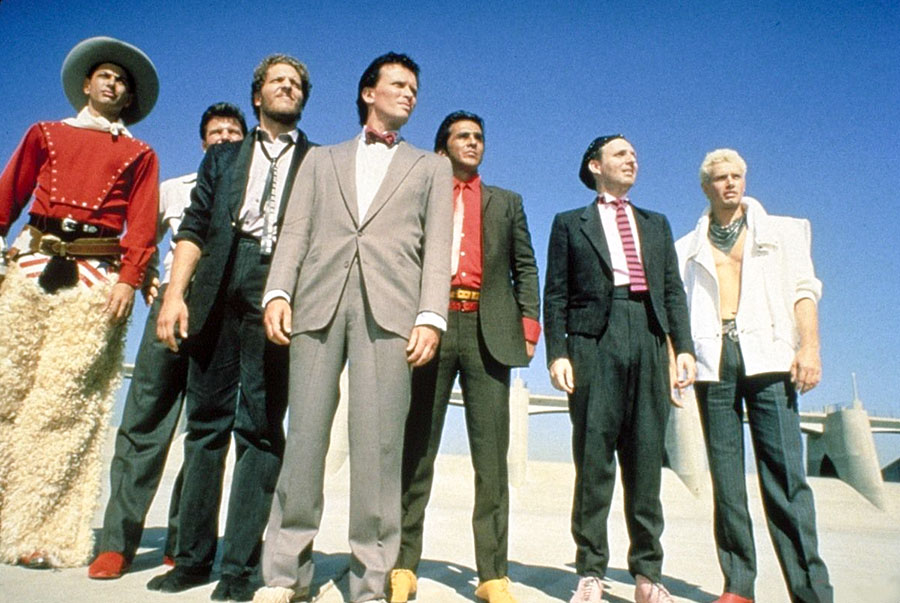 Buckaroo Banzai and his Hong Kong Cavaliers: actors Jeff Goldblum (from left), Clancy Brown, Peter Weller (as Buckaroo), Pepe Serna, Billy Vera, and Lewis Smith.