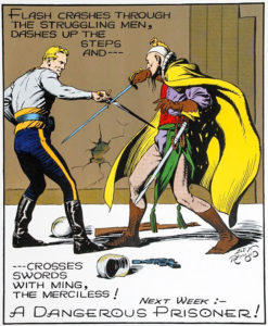 Flash Gordon battles Ming the Merciless.
