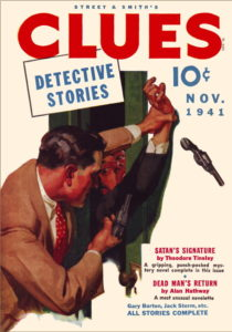 Pulp magazine cover for Clues November 1941.