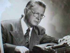 Erle Stanley Gardner at the typewriter.