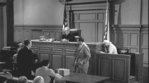 Courtroom scene from the Cautious Coquette.