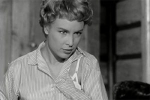 Young Barbara Eden as Carla Adrian.