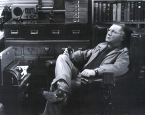 Erle Stanley Gardner dictating his latest book.