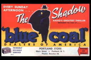 Ink blotter for Blue Coal, featuring The Shadow.