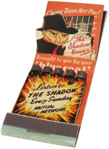 Pop-up matchbook advertising The Shadow.