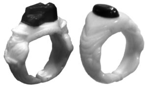 The 1941 Blue Coal ring and the 1947 Carey Salt ring.