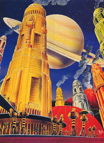 """Golden City of Titan,"" by Frank R. Paul, from the back cover of Amazing Stories (November 1941)."