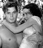 "Johnny Weismuller and Maureen O'Sullivan in ""Tarzan the Ape Man"""