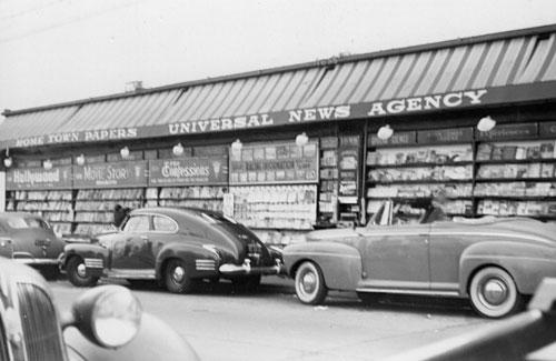 A 1940s newsstand