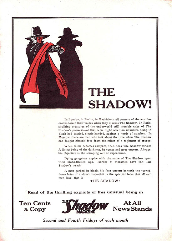 'The Shadow' ad from 'Picture Play' (July 1933)