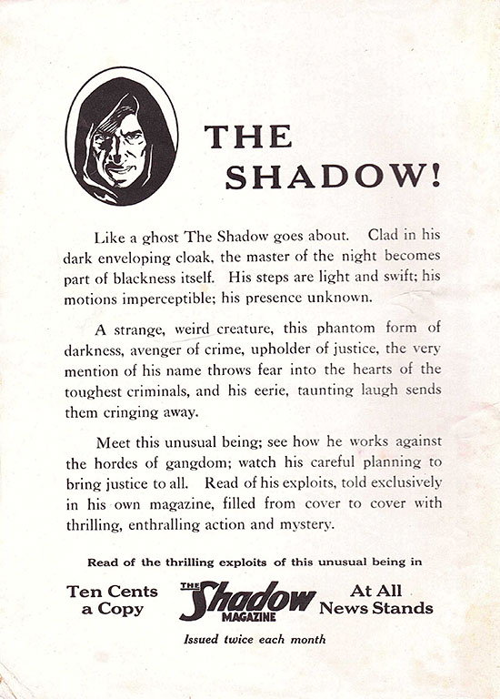 'The Shadow' ad from 'Picture Play' (October 1933)
