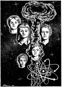 "Children of the atom illustration from ""Astounding Science Fiction"" (March 1950)"