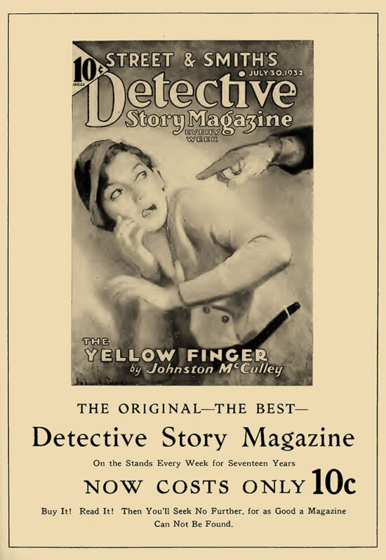 An ad for 'Detective Story Magazine'