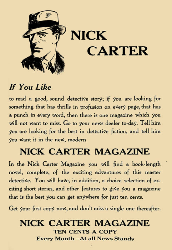An ad for 'Nick Carter Magazine'