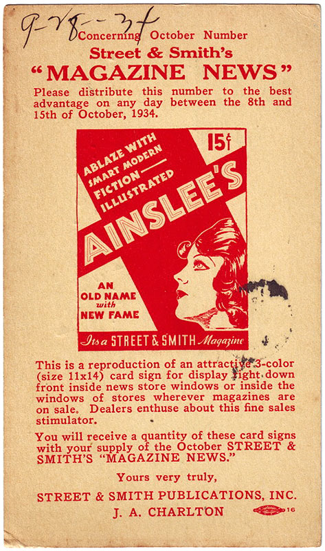 A postcard promoting the return of 'Ainslee's' magazine in 1934.