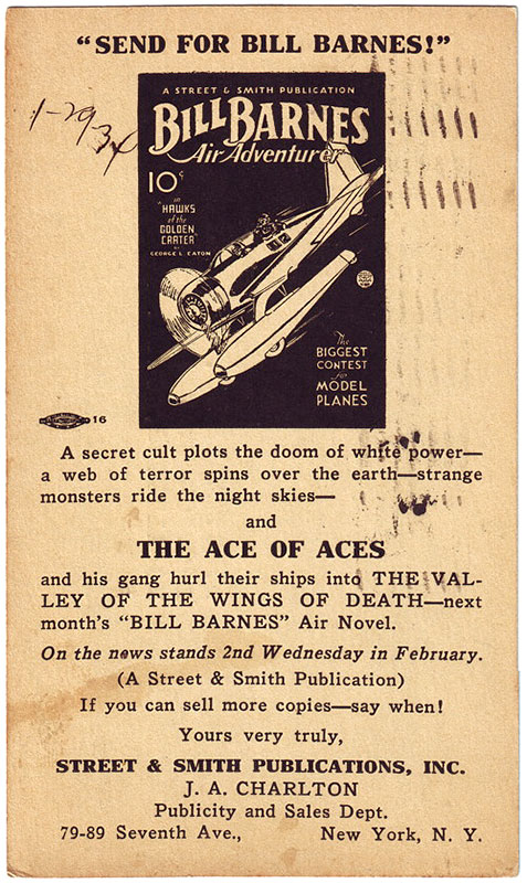 A postcard promoting the new 'Bill Barnes, Air Adventurer' magazine from 1934.