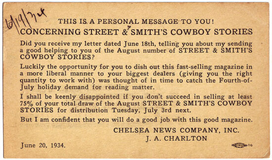 A postcard promoting 'Cowboy Stories' from 1934.