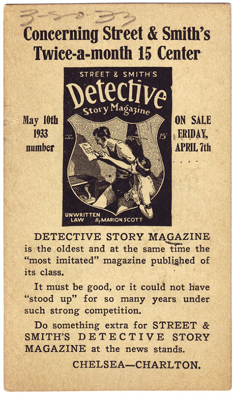 A postcard promoting 'Detective Story Magazine' from 1933.