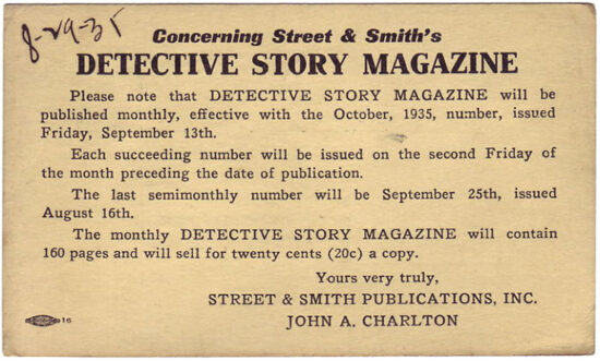 A postcard promoting the new 'Detective Story Magazine' from 1935.