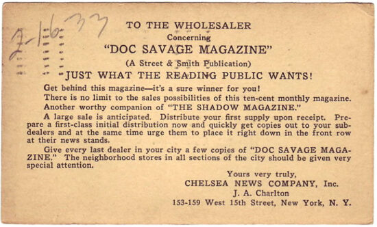 A postcard promoting the new 'Doc Savage Magazine' from 1933.