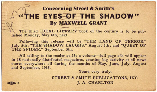 A postcard promoting the Ideal Library edition of 'The Eyes of The Shadow' from 1935.
