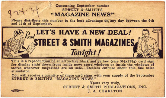 A postcard promoting the Street & Smith group of magazines from 1934.