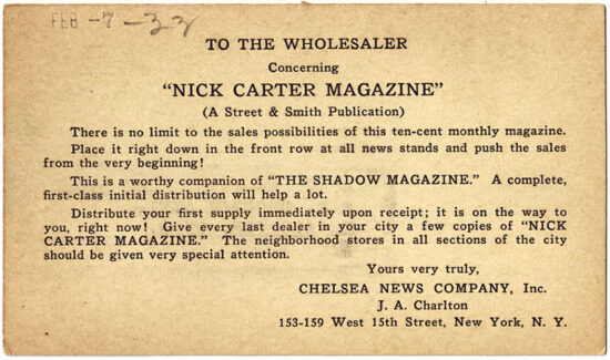 A postcard promoting the new 'Nick Carter Magazine' from 1933.