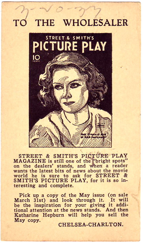 A postcard promoting 'Picture Play Magazine' from 1933.