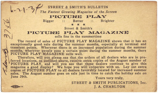 A postcard promoting 'Picture Play Magazine' from 1934.