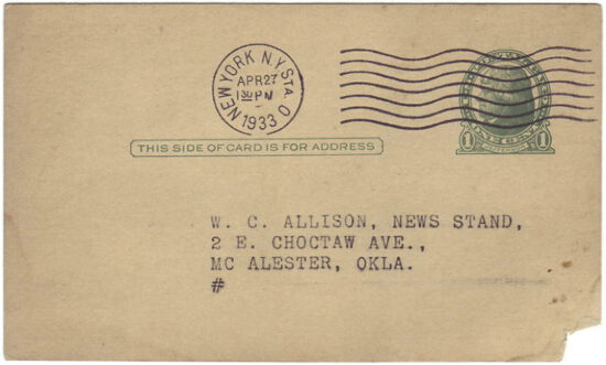 A Street & Smith promotional postcard address to the W.C. Allison News Stand, McAlester, Okla.