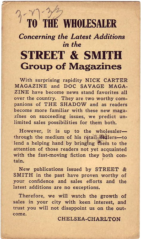 A postcard promoting the Street & Smith group of magazines from 1933.