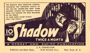 A postcard promoting 'The Shadow Magazine' from the 1930s.