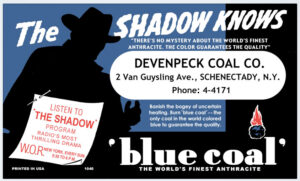Blue Coal ink blotter for 'The Shadow' radio program